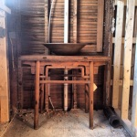 Master bath Vanity - part antique table, part Shelburne Falls Artist's clay sink