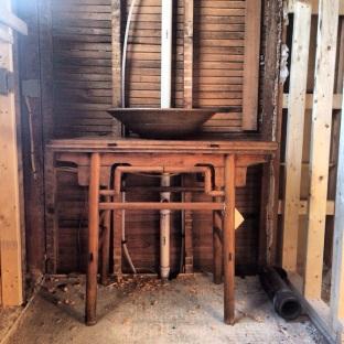 Master bath Vanity - part antique table, part Shelburne Falls Artist's clay sink